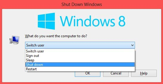 Shut down or restart windows 8 quickly by keyboard