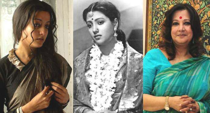 Three Generations: From Left: Raima Sen, Suchitra Sen, Moonmoon Sen