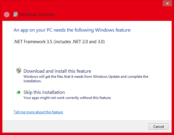 Install Microsoft .NET Framework 3.5 Offline In Windows 8