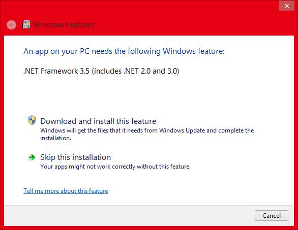 Install Microsoft .NET Framework 3.5 Offline In Windows 8