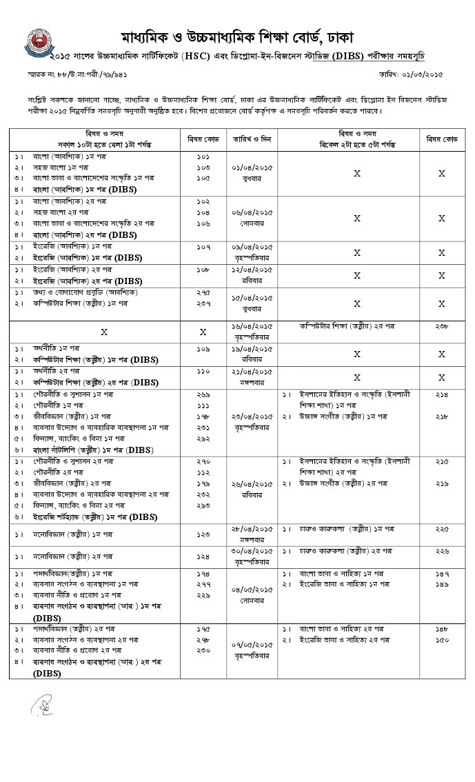 Bangladesh HSC exam routine 2015 has been published