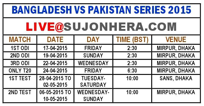 BANGLADESH VS PAKISTAN SERIES 2015 SUJONHERA
