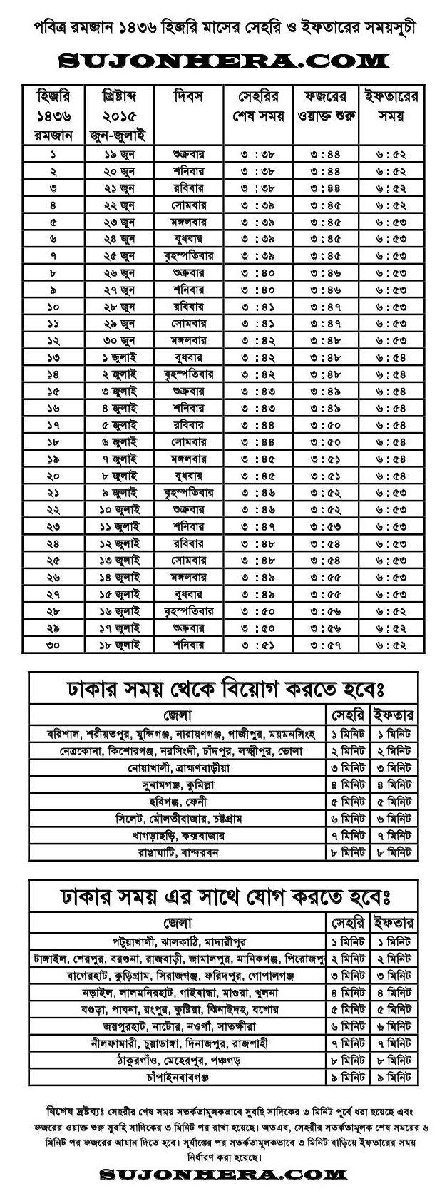 Ramadan Calendar 2015 Bangladesh Sehri Iftar Timings 1436