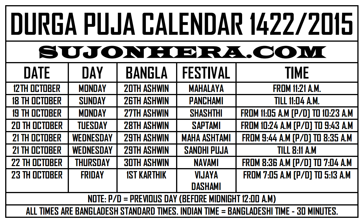 Durga Puja 2014 Schedule Bangladesh India Calendar Timings