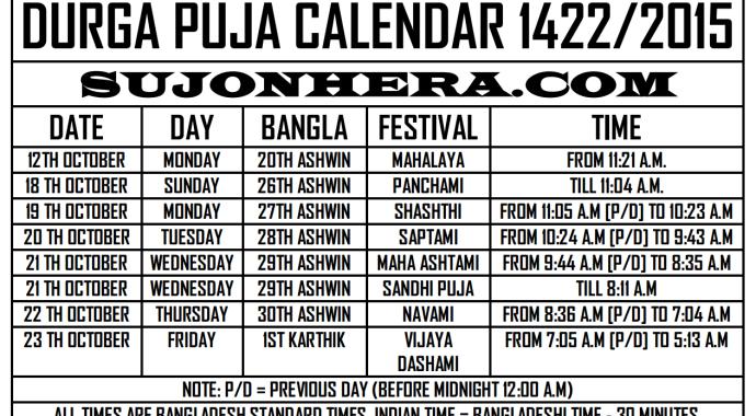 Durga Puja 2014 Schedule Bangladesh India Calendar Timings