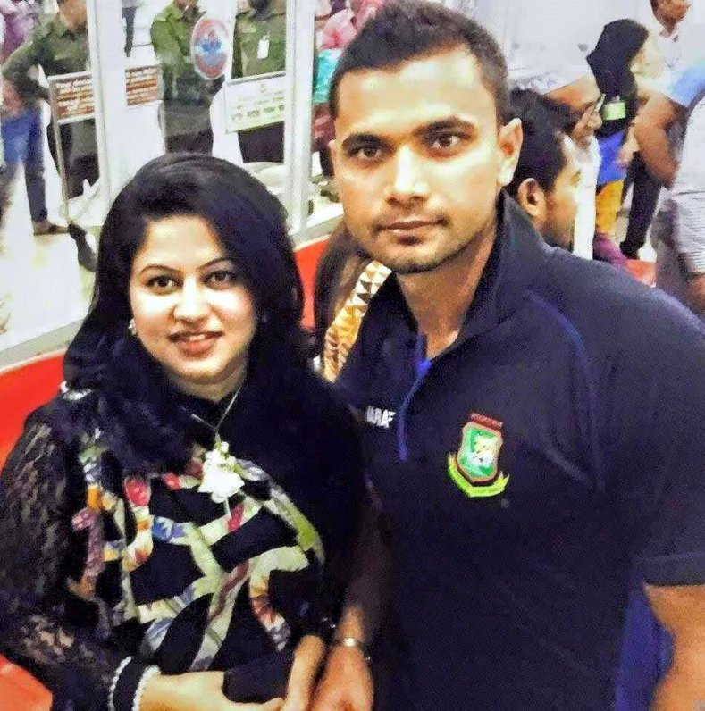 Mashrafe Mortaza Bangladeshi Cricketer with his wife
